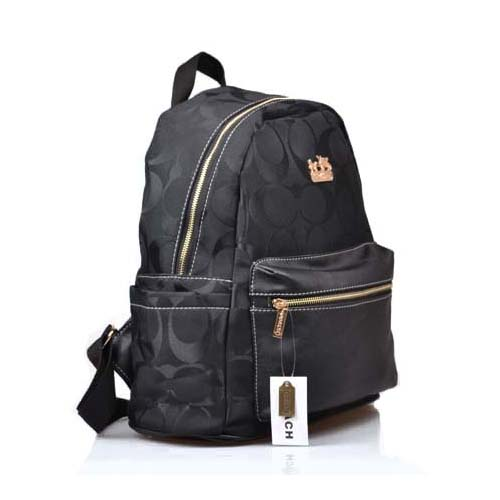 Coach Logo Monogram Medium Black Backpacks DPG