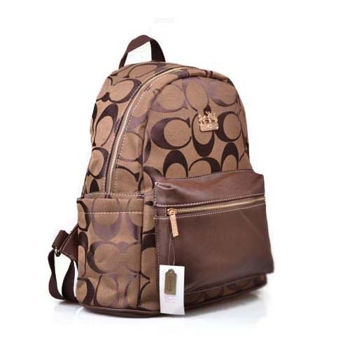 Coach Logo Monogram Medium Coffee Backpacks DPH