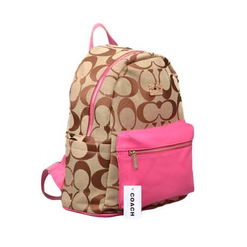 Coach Logo Monogram Medium Pink Backpacks DPI