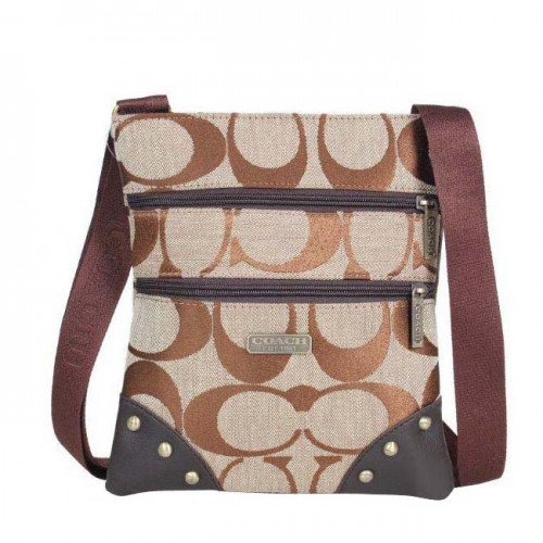 Coach Stud In Signature Small Khaki Crossbody Bags DQC