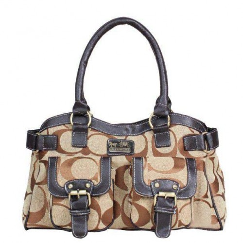 Coach Legacy Logo Signature Medium Khaki Satchels DQF