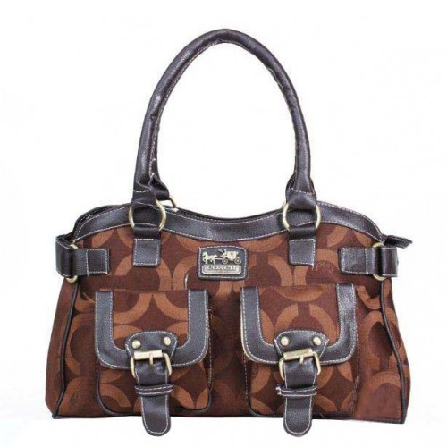 Coach Legacy Logo Signature Medium Coffee Satchels DQG