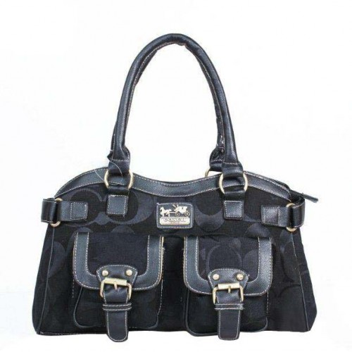 Coach Legacy Logo Signature Medium Black Satchels DQH