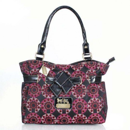 Coach Poppy Bowknot Monogram Medium Red Totes DQI