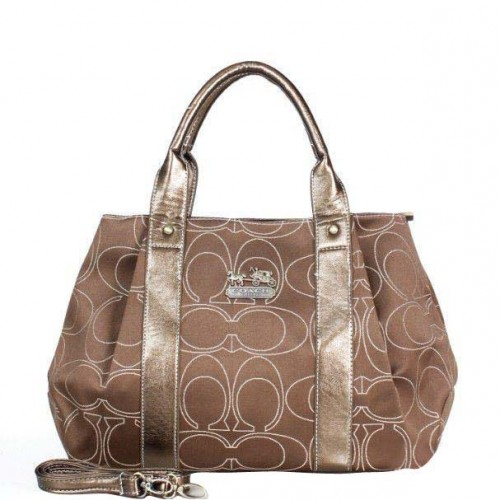 Coach Madison Logo Signature Medium Brown Satchels DQK