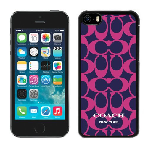 Coach Big Logo Fuchsia Navy iPhone 5C Cases DQM