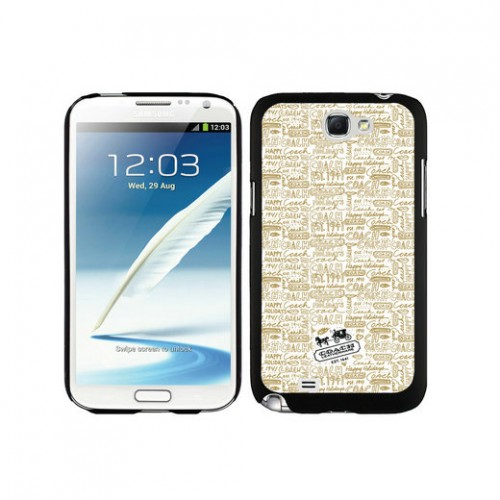 Coach Fashion Logo Khaki Samsung Note 2 Cases DTA
