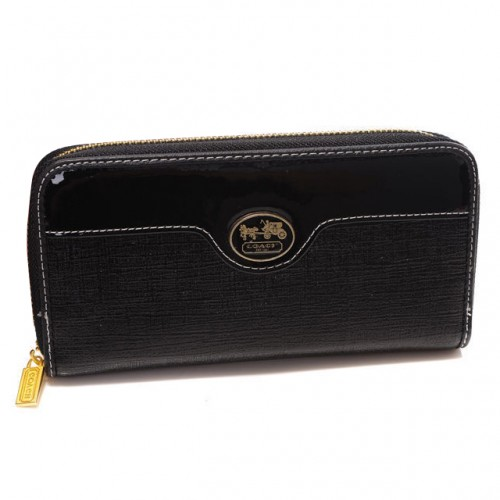 Coach Poppy Logo Large Black Wallets DTO