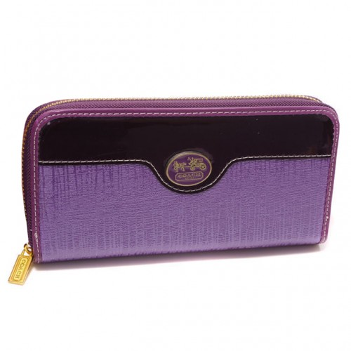 Coach Poppy Logo Large Purple Wallets DTQ