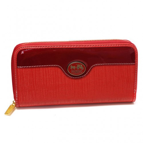 Coach Poppy Logo Large Red Wallets DTR