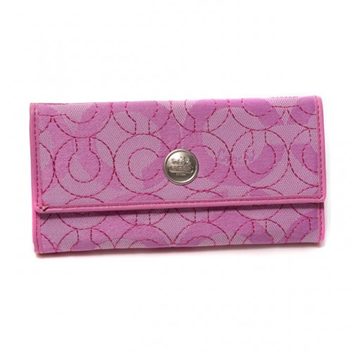 Coach Logo Signature Large Pink Wallets DTY