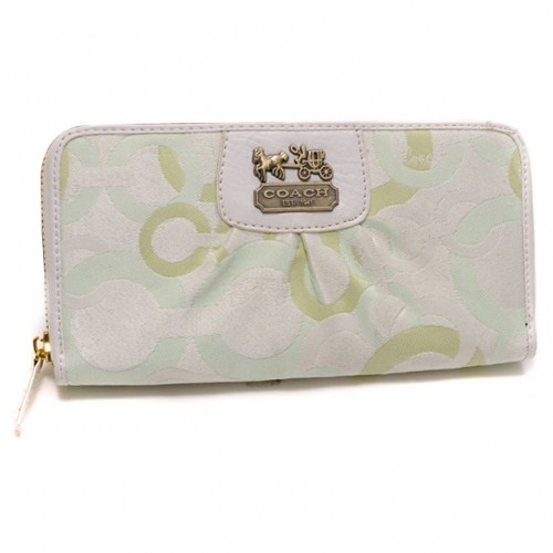 Coach Fashion Logo Large Green Wallets DUD