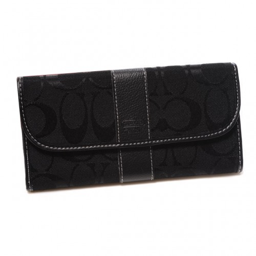 Coach Legacy In Signature Large Black Wallets DUN