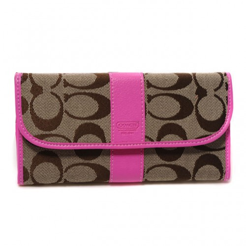 Coach Legacy In Signature Large Pink Wallets DUP