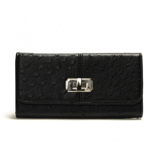 Coach Ostrich Embossed Lock Large Black Wallets DUU