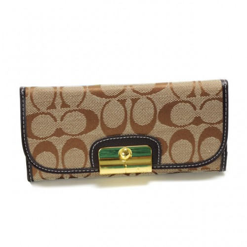Coach Kristin In Signature Large Khaki Wallets DVN