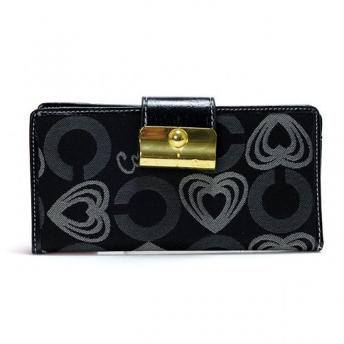 Coach Lock In Hearts Large Black Wallets DVQ