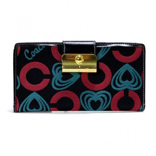 Coach Lock In Hearts Large Red Blue Wallets DVR