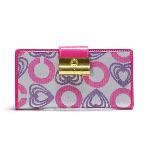 Coach Lock In Hearts Large Pink Wallets DVT