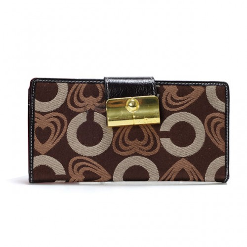 Coach Lock In Hearts Large Coffee Wallets DVU