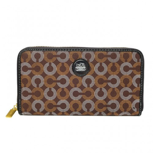 Coach Op Art Large Brown Wallets DVX