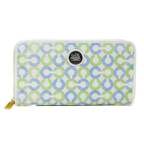 Coach Op Art Large Green Wallets DWB