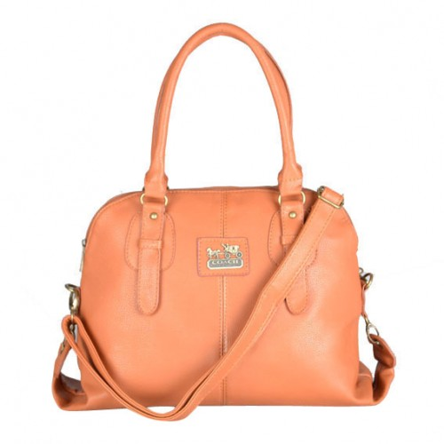 Coach Logo Charm Small Orange Satchels DWJ