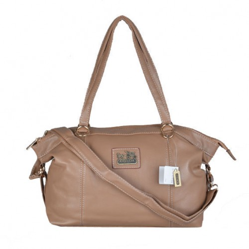 Coach Bleecker Logo Charm Medium Apricot Satchels DWQ