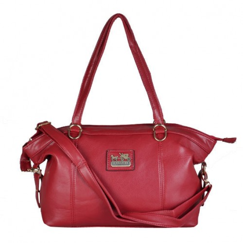 Coach Bleecker Logo Charm Medium Red Satchels DWS