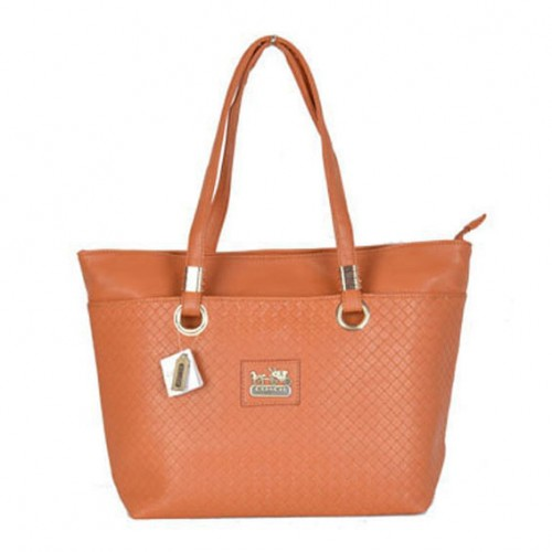 Coach Knitted Logo Medium Orange Totes DXA