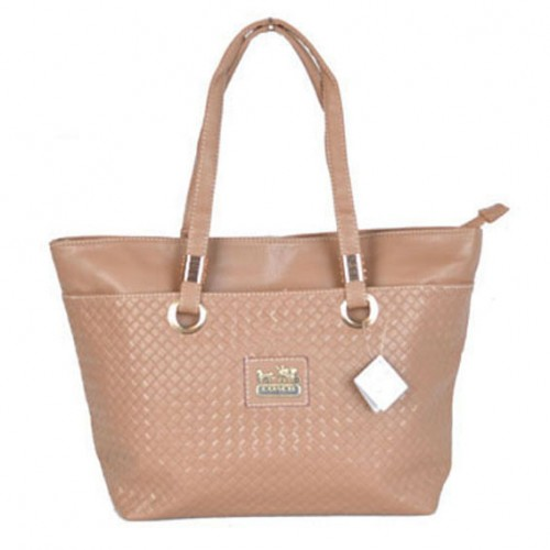 Coach Knitted Logo Medium Apricot Totes DXB