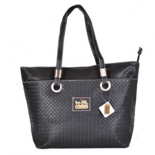 Coach Knitted Logo Medium Black Totes DXE