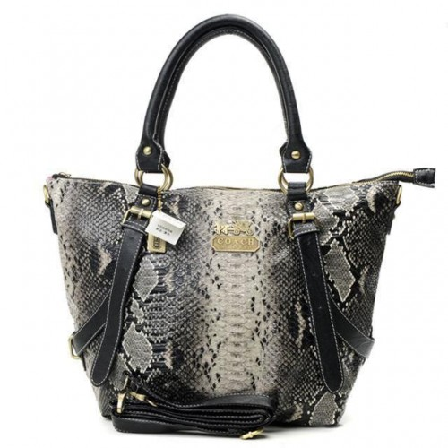 Coach Snakeskin Embossed Medium Grey Totes DXF