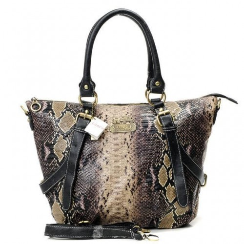 Coach Snakeskin Embossed Medium Brown Totes DXG