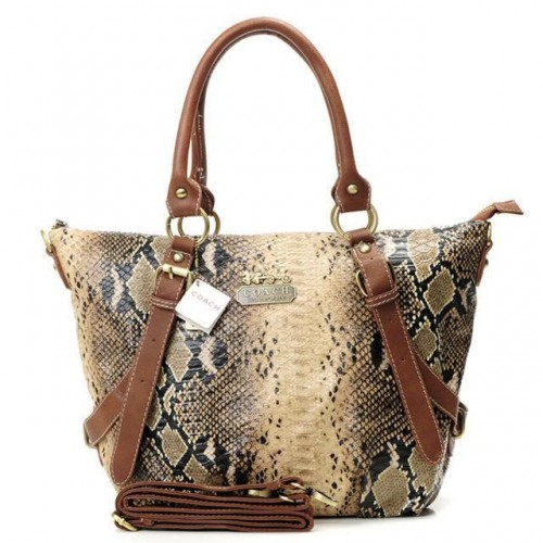 Coach Snakeskin Embossed Medium Brown Totes DXH