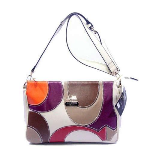 Coach Poppy Op Art Medium White Crossbody Bags DXM