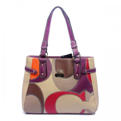 Coach Big Logo Large Purple Ivory Totes DXQ