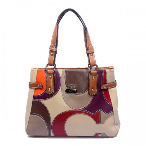 Coach Big Logo Large Brown Ivory Totes DXR