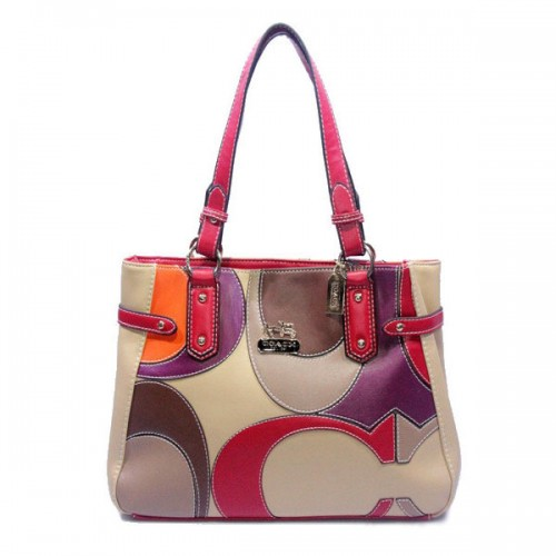 Coach Big Logo Large Red Ivory Totes DXS