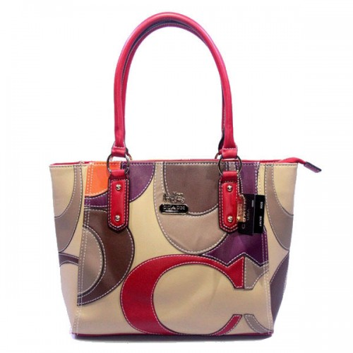 Coach Big Logo Medium Red Ivory Satchels DXW