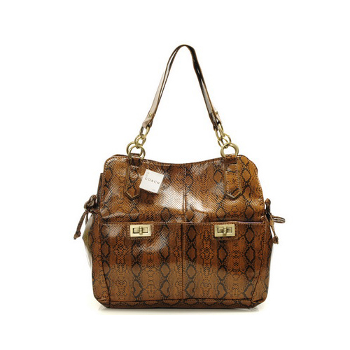 Coach Embossed Lock Medium Brown Totes DYH
