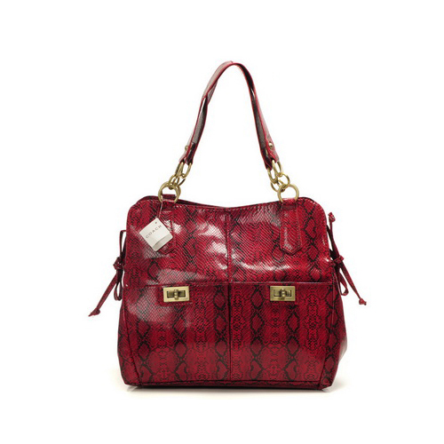 Coach Embossed Lock Medium Red Totes DYI
