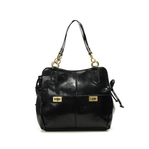 Coach Embossed Lock Medium Black Totes DYJ