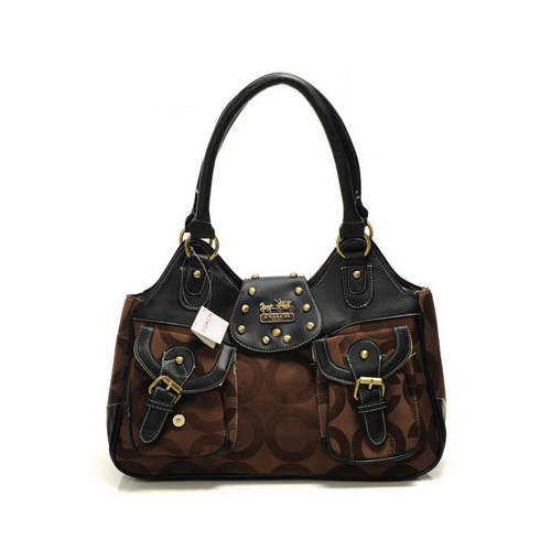 Coach Stud Logo Signature Medium Coffee Satchels DYL