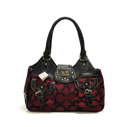 Coach Stud Logo Signature Medium Red Satchels DYN