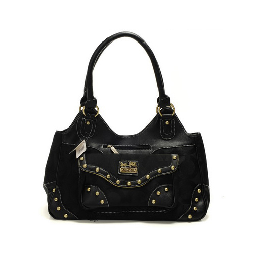 Coach Logo Stud Medium Black Satchels DYP