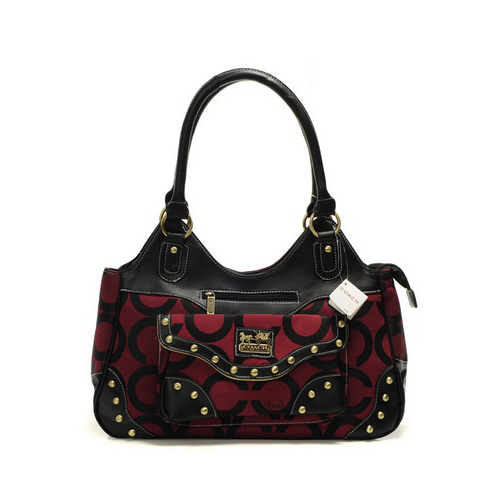 Coach Logo Stud Medium Red Satchels DYQ