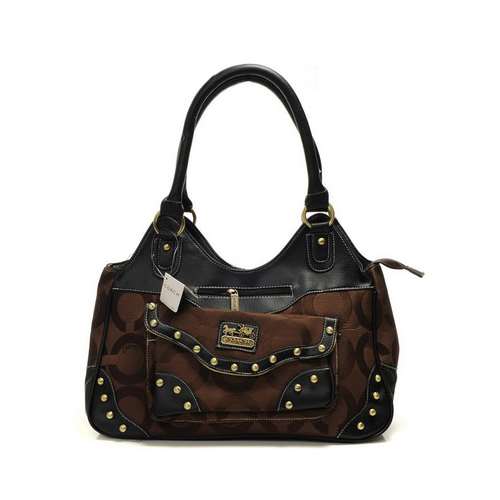Coach Logo Stud Medium Coffee Satchels DYS
