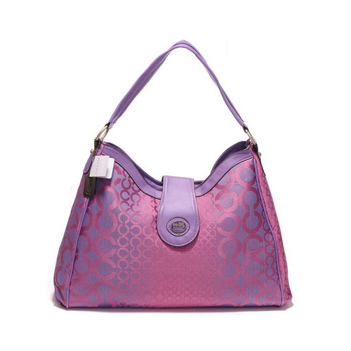 Coach Madison In Logo Large Purple Shoulder Bags DYT