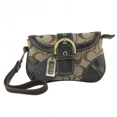 Coach Buckle In Monogram Medium Beige Wristlets DYW